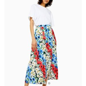 Dresses & Skirts - Topshop Maxi Pleated Floral Skirt Multicolored